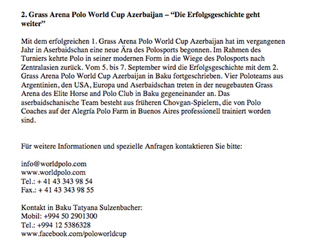 2nd Arena Polo World Cup Azerbaijan - Deutsch Kurzfassung