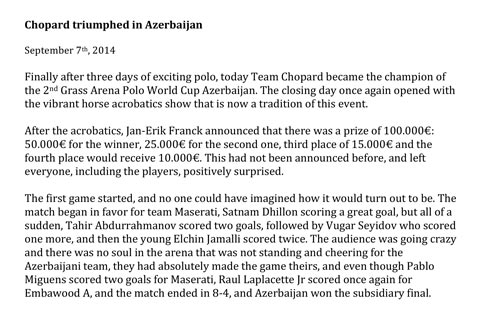 Chopard triumphed in Azerbaijan